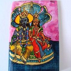 Aquarelle sur bois, divinités hindoues, sitâ et râmâ