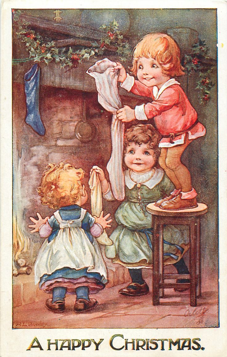 A HAPPY CHRISTMAS  three children hang up Xmas stockings