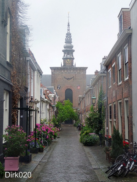 Nieuwe Kerkstraat during the pouring rain, Haarlem,  The Netherlands