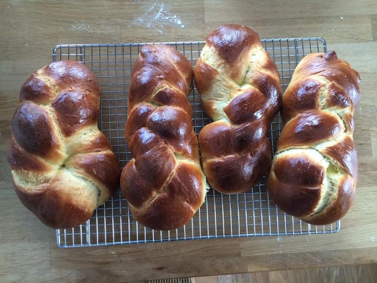 """""""With 3.6 lbs of brioche dough I made 4 two strand bread loaves. #breadchat"""" —Sandy Warner ([@]Sandy_Warner_ on Twitter), pinned with her permission"""