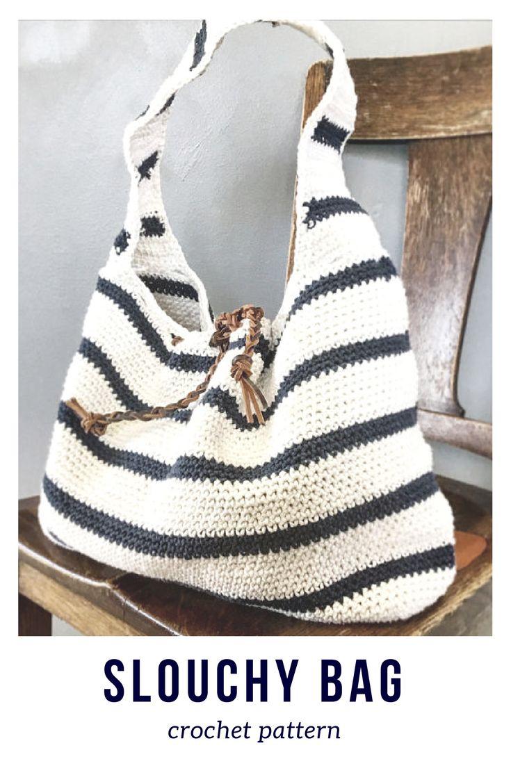 I love this striped slouchy crochet bag! What a cute gift idea ...#afflink #crochet #crochetpattern #etsy #crochetbags