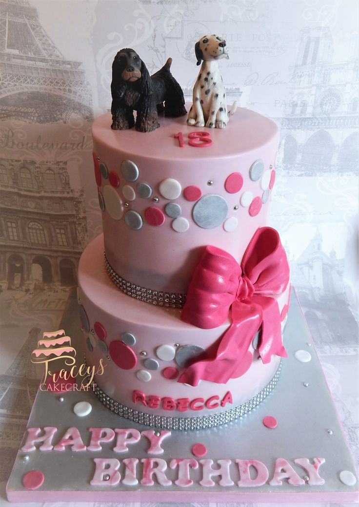 Pink & silver themes birthday cake with edible dog toppers. Dalmatian & spaniel