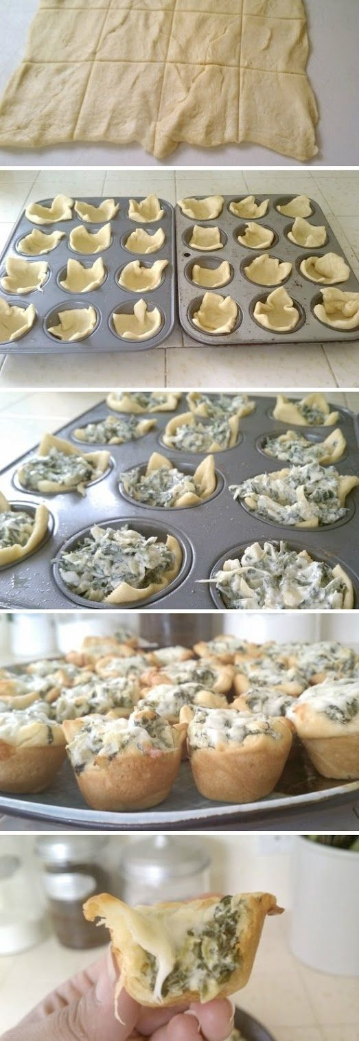 Spinach Artichoke Bites. Really yummy and most importantly, so easy to make.