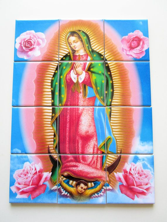Our Lady of Guadalupe - catholic wall art - religious tile art - mosaic 12 tiles -  handmade in Italy Nuestra Señora - Catholic Icon