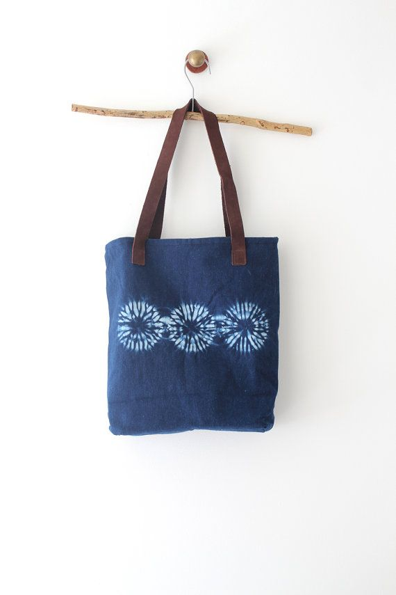 Shibori dye handbag Natural Indigo dye handbag with door bySanz