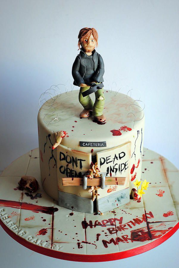 Bloody cake! The walking dead themes cake by Rabarbar_cakery