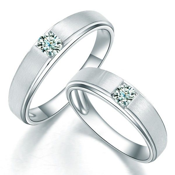 Satin finish Couples Diamond Wedding Ring Bands