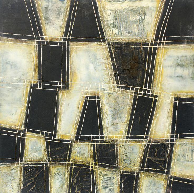 Serie textil 1 de 2 acrilico y pasta de muro sobre madera  60 x 60 cm   2009