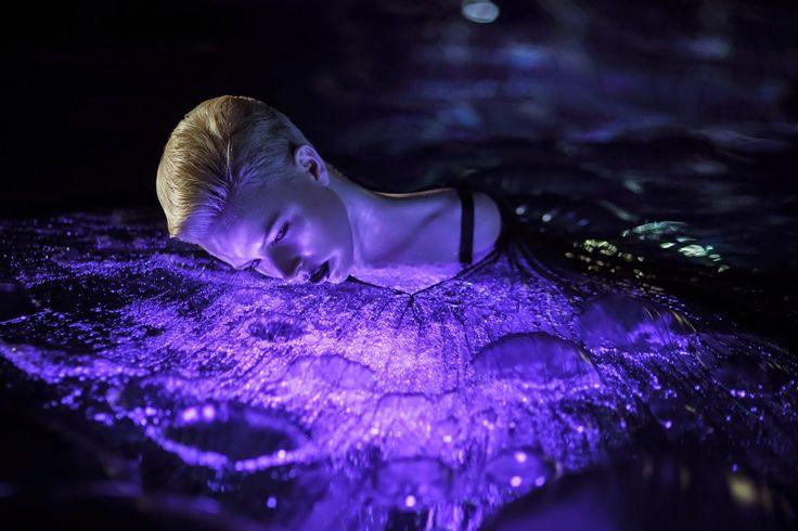 Photography: Chris Fatseas Model: Kelly Hockey Makeup: Carolina Rojas water, beauty, lighting, purples, black, dewy, skin, bubbles
