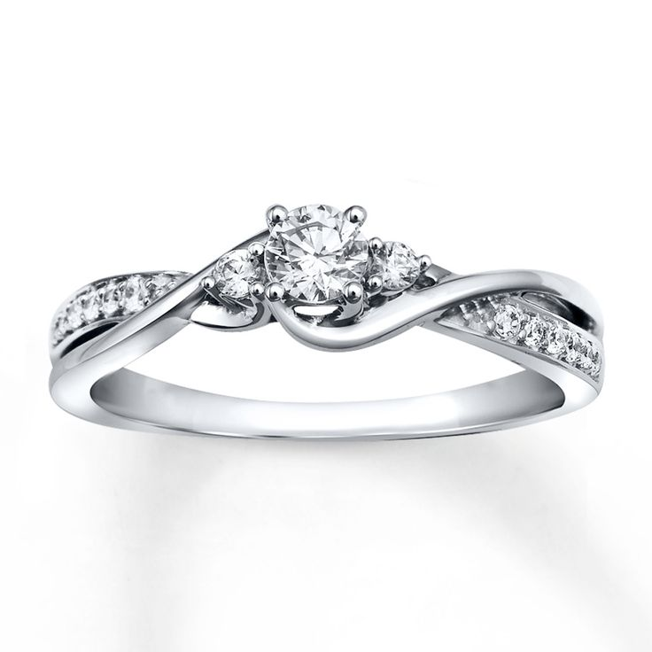 FAVORITE!!!!!! Diamond Engagement Ring 1/3 ct tw Round-cut 10K White Gold