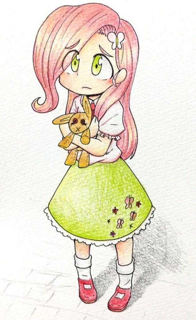 #1103283 - artist:yukimaki, fluttershy, humanized, safe, solo - Derpibooru - My Little Pony: Friendship is Magic Imageboard