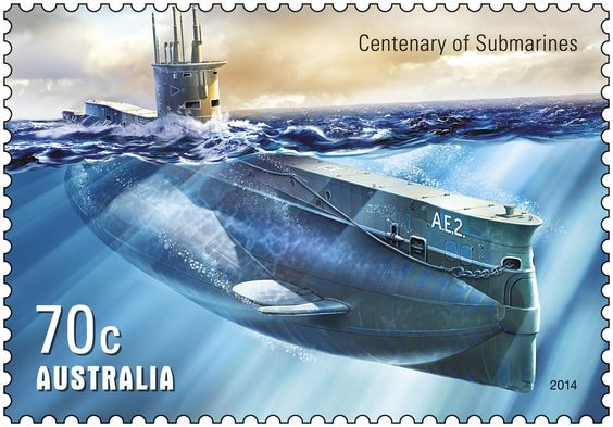 Australia's first submarines, E-class vessels known as HMAS AE1 and HMAS AE2, were commissioned into the Royal Australian Navy in February 1914 and arrived in Sydney on 24 May. The Centenary of Military Aviation & Submarines stamp release is available now BFD