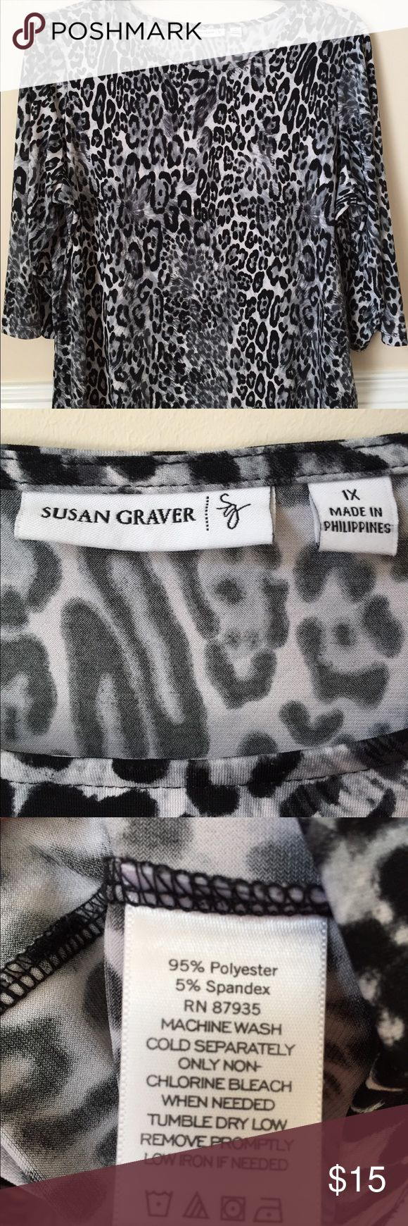 EUC Susan Graver Black & white animal print top 1X Excellent preowned condition Susan Graver animal print top. Three-quarter length sleeve's.  Does have some stretch. Susan Graver Tops