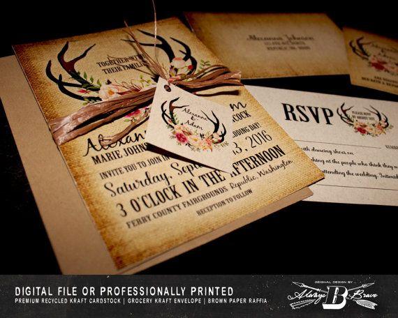 Wedding Invitations Shops: Rustic Wedding Invitation SET