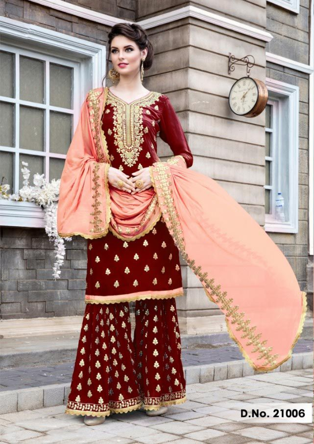 a2d6bb18f Red Color Stylish Gota Patti Pattern Sharara Salwar Suit with Heavy Work