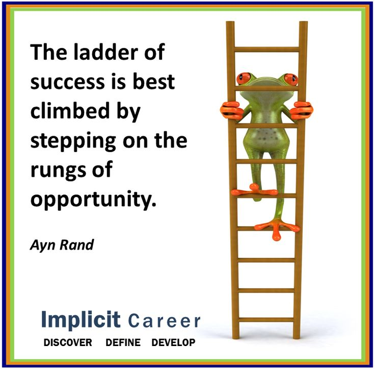 Success ladder frog quote