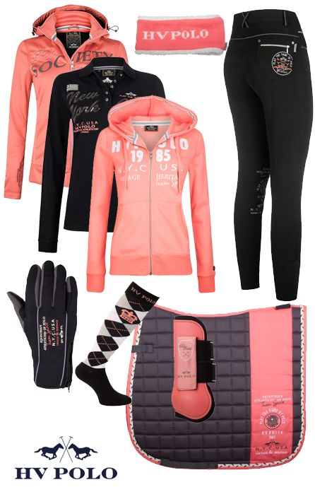 Love the pink and black jacket with the riding pants along with the socks