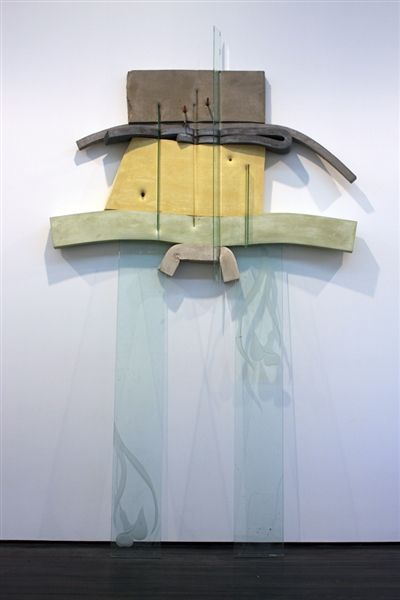 "Dave Hardy,""Untitled,"" 2013, glass, cement, polyurethane foam, paint, tape, pencils, marker, penny, pretzel, 120"" x 84"" x 18"""