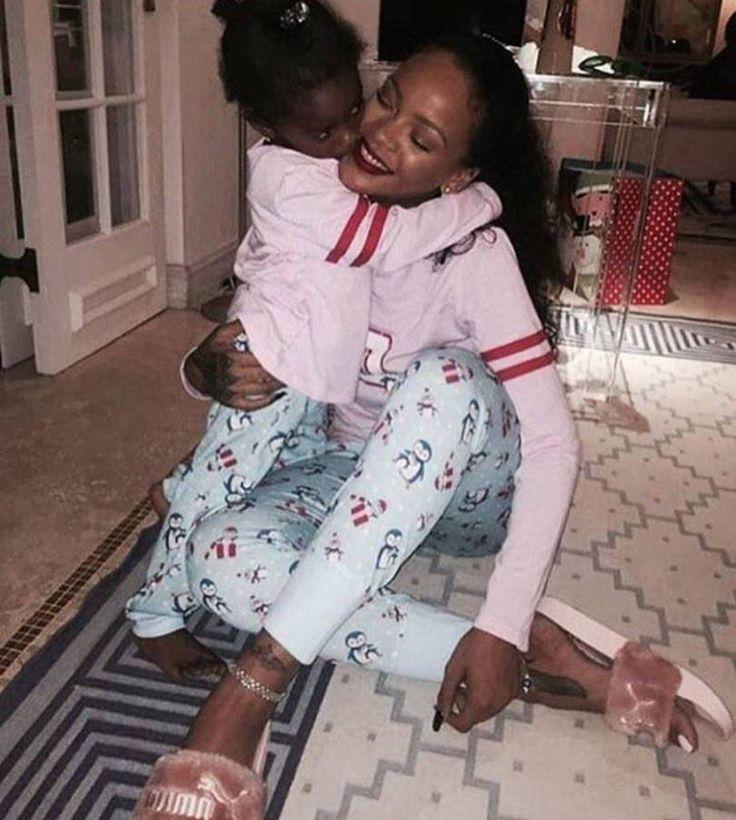 Rihanna Majesty American Girl holiday penguin pajama set, Fenty x Puma pink fur slides