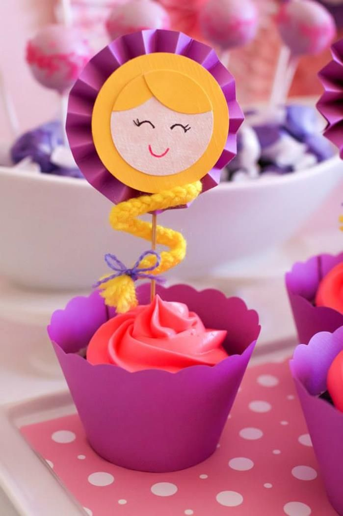 Cupcakes at a Tangled Inspired Party with Lots of Super Cute Ideas via Kara's Party Ideas | KarasPartyIdeas.com #Rapunzel #Party #Ideas #Supplies #tangledparty #cupcakes