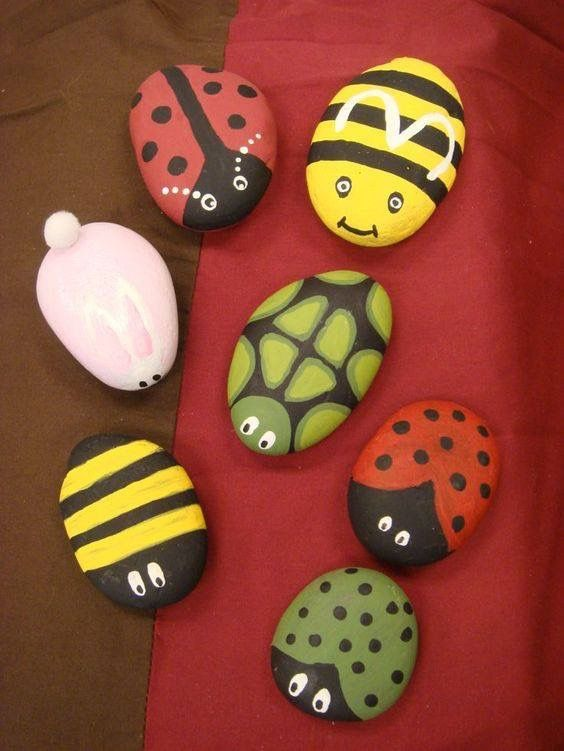 Insect painted rocks