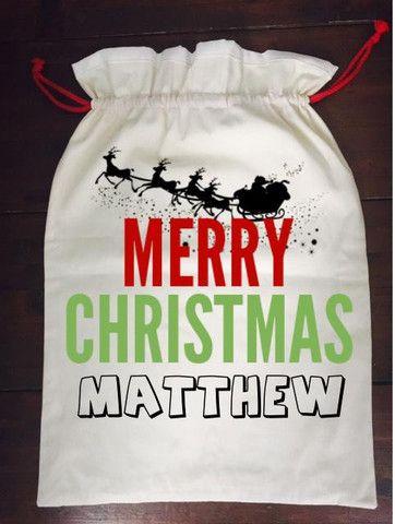 Calico Santa Sack - Merry Christmas