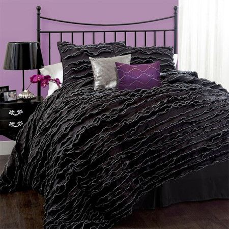 i want to flop down on this fluffy comforter set lush decor modern chic 5 piece black comforter set possibly for the room
