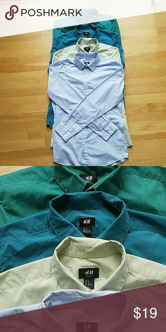 *** SOLD!!*****Lot of 4 H&M easy iron shirts 4 easy iron shirts from H&M. 3 of them are slim fit. All are size M. H&M Shirts Dress Shirts