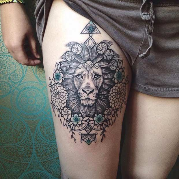 Mandala Lion Thigh Tattoo Idea for Women