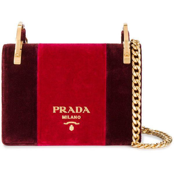 Prada Pattina velvet shoulder bag ($1,970) ❤ liked on Polyvore featuring bags, handbags, shoulder bags, red, chain strap purse, prada purses, prada, shoulder hand bags and velvet shoulder bag