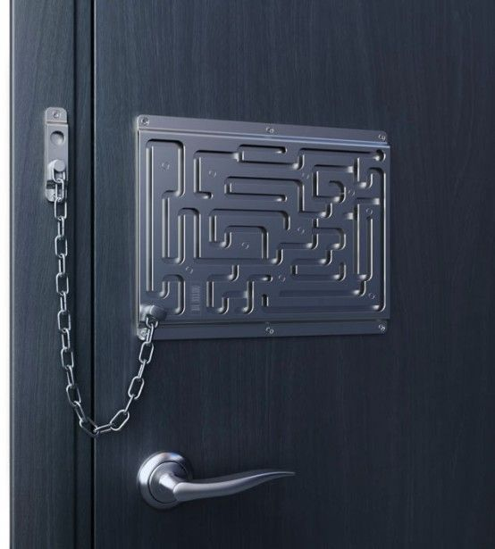 Use this for the snack cabinet!!!  Creative Door Chain That Is Really Safe