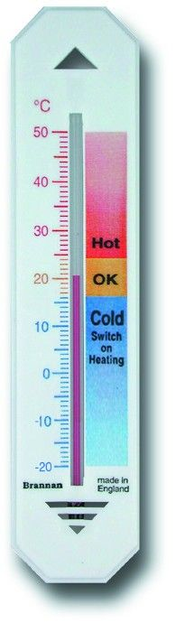 Hypothermia Thermometer - 150mm - White plastic wall thermometer with coloured zones to help determine the most comfortable and economical settings for your home. With three colour temperature scale and recommended zones °C only.