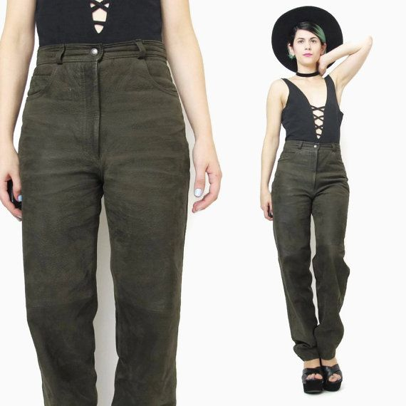80s Suede Leather Pants Army Dark Olive Green by honeymoonmuse