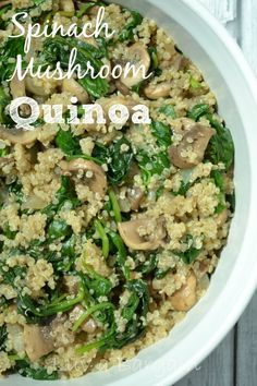 Spinach Mushroom Quinoa - A yummy clean eating side dish or a meal in itself.  Add chicken too!  #cleaneating
