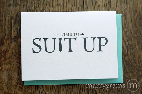 Time to Suit Up - Will You Be My Groomsman Card, Best Man, Usher, Ring Bearer- Fun Wedding Cards for Groom to Ask Groomsmen, Guys / from Marrygrams.com / A perfect way to ask guys to be part of your wedding party! / Go to Pinterest.com/marrygrams and click Follow for more items in the shop!