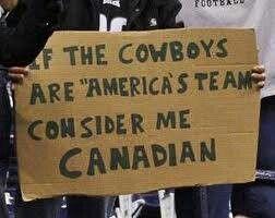 Washington Redskins > Dallas Cowboys. NFL football humor.