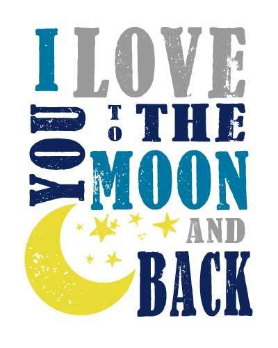 Te amo a la luna y el arte de espalda metro por MyPoshDesigns