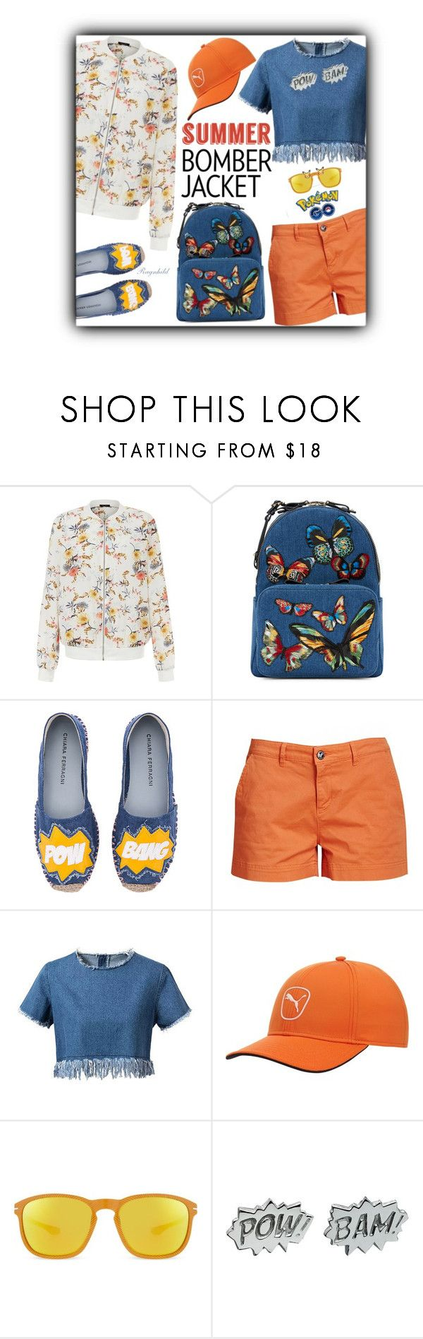 """""""Summer Bomber Jacket"""" by ragnh-mjos ❤ liked on Polyvore featuring New Look, Valentino, Chiara Ferragni, Barbour, Chicnova Fashion, Puma, Oakley, Edge Only, outfit and bomberjackets"""