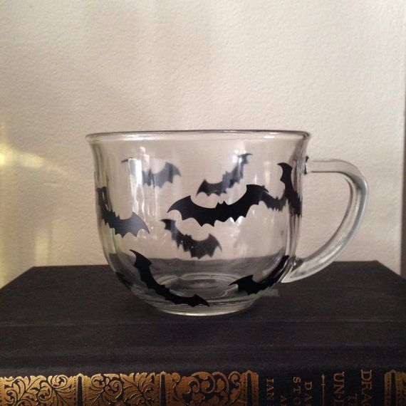 Halloween bat coffee mug clear coffee cup by SimplyGlassic on Etsy #halloween #coffeemug