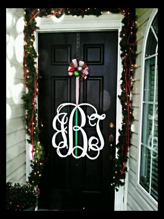 Christmas front door monogram instead of a wreath