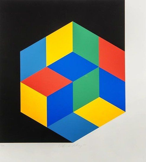 Victor Vasarely (1906-1997) Untitled screenprint in colours, signed in pencil, numbered 61/100, on wove paper, with full margins, 480 x 425 mm (18 7/8 x 16 3/4 in)