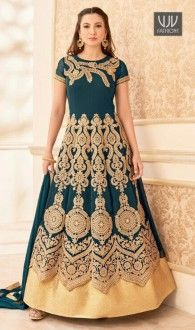 Gauhar Khan Teal Color Georgette Designer Anarkali Suit