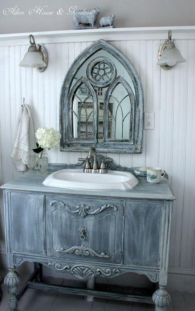 Beautiful Bathroom Vanity from repurposed furniture - Aiken House & Gardens:  Our Bathroom Makeover | warrengrovegarden.blogspot.com