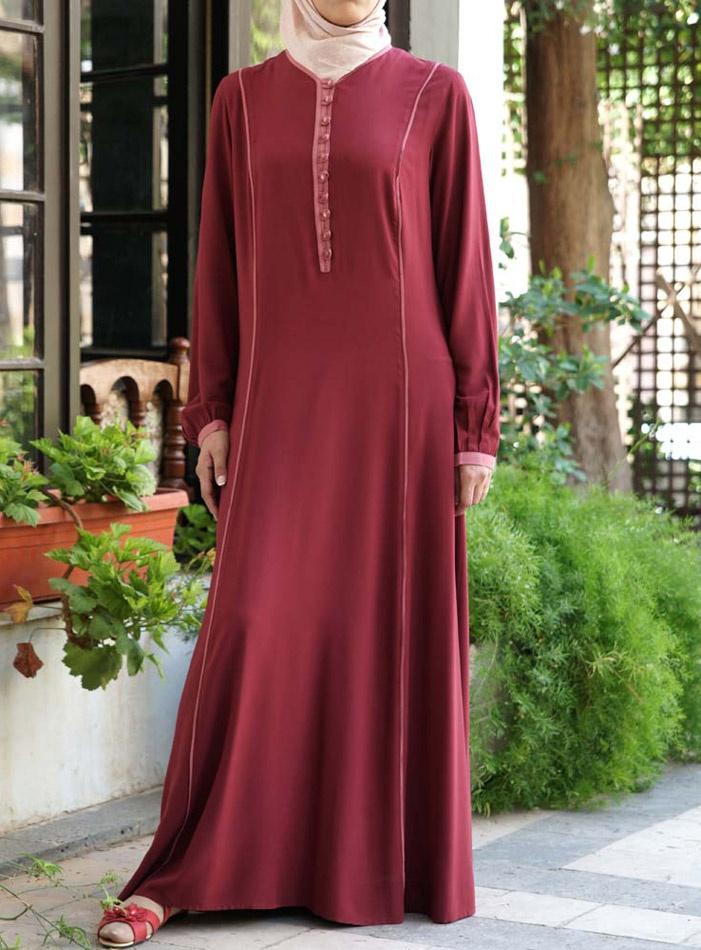 Bias Trim Rayon Dress Via Shukr