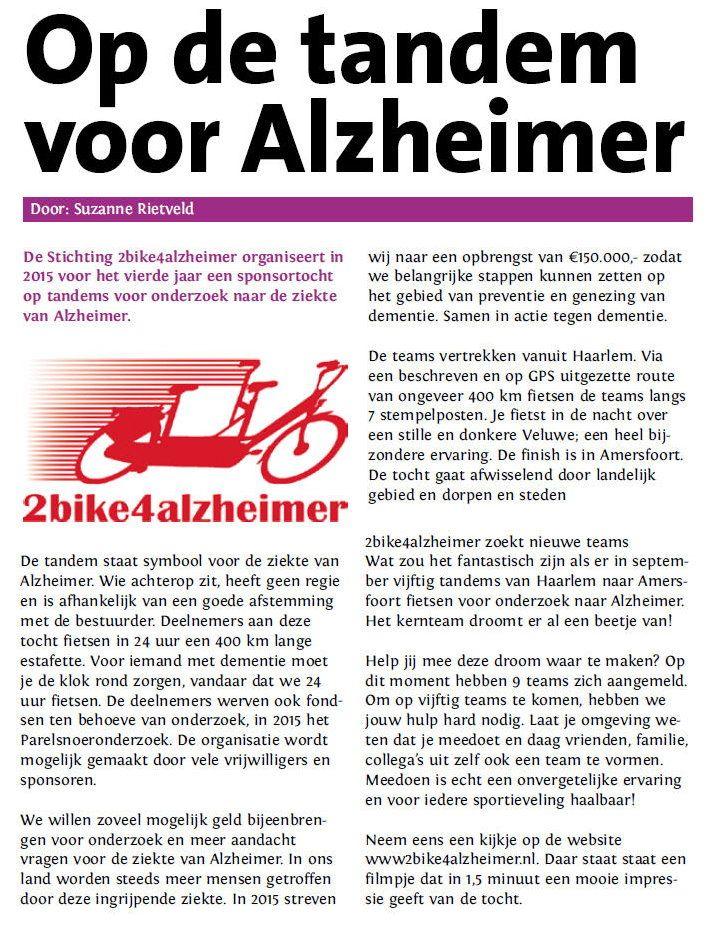 op de tandem voor Alzheimer