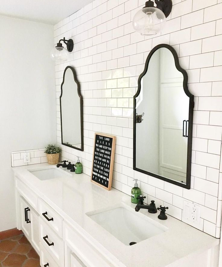 Bright White Bathroom Double Vanity Tile Wall Two Mirrors