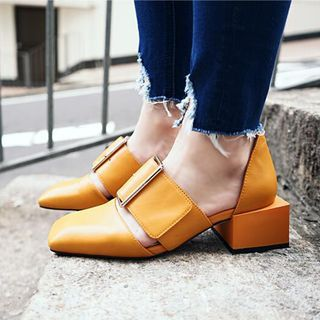 JY Shoes - Square Toe Genuine Leather Pumps