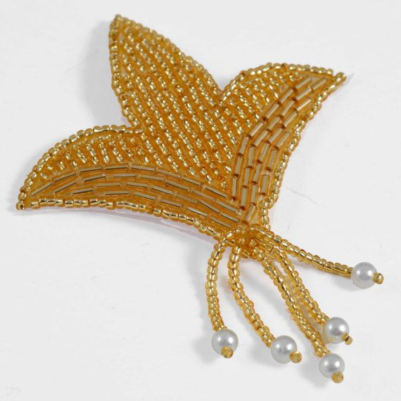 Pearl Beaded Applique Bridal Applique by 1 pc 3-1/2H x