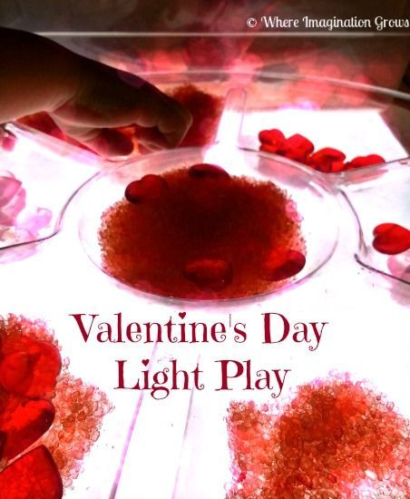 Valentine's Day Light Table Play from Where Imagination Grows