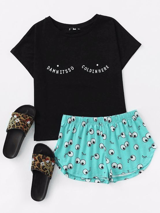 Tee And Allover Cartoon Eyes Print Shorts Pajama Set #Clothing#Dresses#Tops#Tees#Sweaters#Fashion#Hoodies#Sweatshirts#Jeans#Pants#Skirts#Shorts#Leggings#Active#Swimsuits#Cover#Ups#Lingerie#Sleep#lounge#Jumpsuits#Rompers#Overalls#Coats#Jackets#Vests#Suiting#Blazers#Socks#Hosiery